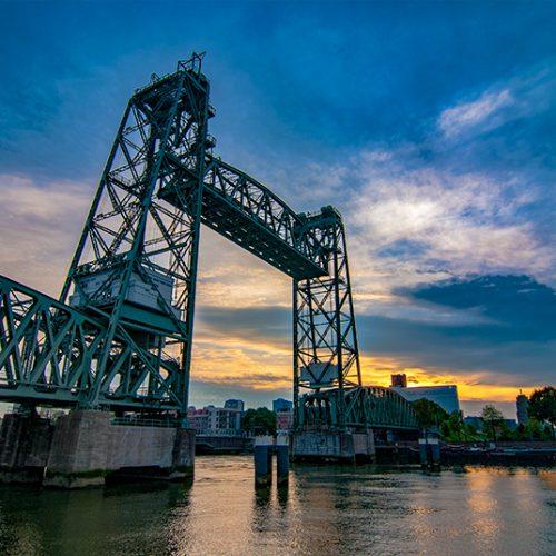 Kop van Zuid, Rotterdam, avond, avondfotografie, de Hef, erasmusbrug, golden hour, landschap, urban, zonsondergang