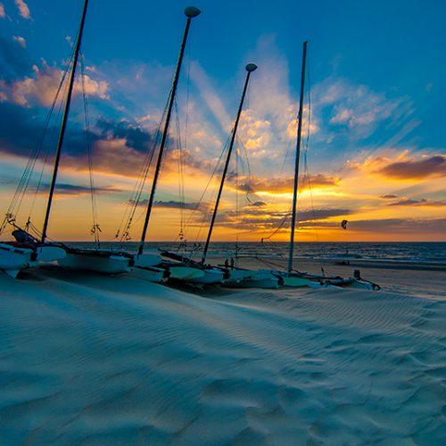 Sunset, beach, sand, beautiful, catamaran, strand, zonsondergang, zand, strand
