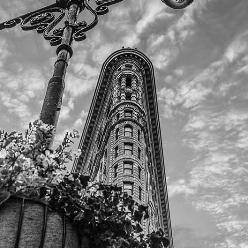 Streetview of the New York City's Flat Iron Building.