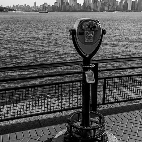 Photograph of the Manhattan skyline as seen from Liberty Island.