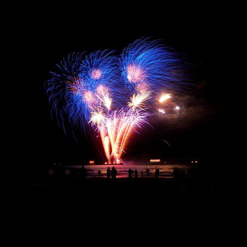Grote finale van het Internationaal vuurwerkfestival op het strand van Scheveningen